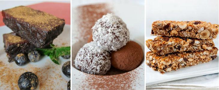 Postres saludables: Rawnie, bolitas de frutos secos, turrón de cereales. Fotos bolitas y turron: Pau Esculies