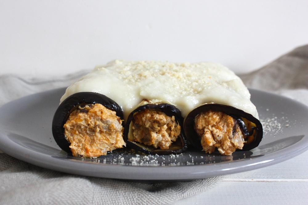 canelones de berenjena rellenos con calabaza, shiitake y nueces
